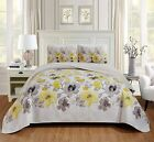 Home Collection 3pc King/California King Bedspread Floral Yellow and Brown Flowe