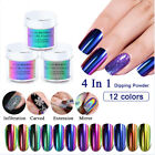 12 Colors Dipping Nail Powders Glitter Holographic Mirror Aurora Mermaid Pigment