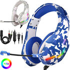 Pro Gamer Mic LED Gaming Headset Stereo Bass Surround Headphone for PS5/Xbox One