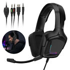 RGB LED Gaming Headset Adjustable Headhand Noise Reduction Headphone for PS5 PC