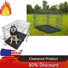 "Dog Crate Kennel Fold Metal Pet Cage 2 Door Divider Tray Pan 24"" 30"" 36"" 42"" 48"""