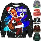 Unisex Printed Christmas Sweatshirt Xmas Ugly Jumper Novelty Funny Pullover Tops