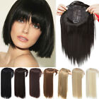 Real Thick Clip In Topper Hair Extensions with Bangs Hairpiece Natural as Human