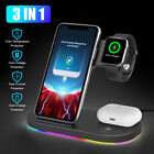 15W Qi Wireless Fast Charging Stand Charger Dock w/LED for iWatch Air Pod iPhone