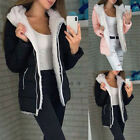 'Womens Fur Lined Hooded Winter Jacket Ladies Cargo Casual Warm Thick Parka Coat