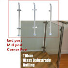 110cm Stainless Steel Balustrade Railing Post Grade Glass Clamps Fencing Home UK