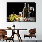 Grapes Wine and Cheese Kitchen Dining and Cafe Decor Canvas Art Print