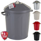 15L Metal Bin & Lid Galvanised Dustbin Pet Food Storage Container Animal Feed