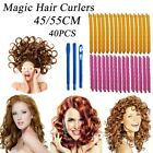 40Pcs 45/55cm Water Wave Magic Curlers Formers Leverage Spiral Hairdressing Tool