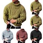 Men Winter Chunky Cable Knitted Jumper Roll Turtle Neck Pullover Top Sweater