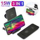 3 in 1 Qi Wireless Fast Charger Charging Dock Station for iPhone Samsung iWatch