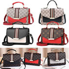 Women Checkered Crossbody Purse Contrast Strip Pu Handbag Messenger Shoulder Bag