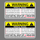 2X VEHICLE RULES FUNNY VINYL STICKER CAR TRUCK WINDOW DECAL SAFETY WARNING JDM