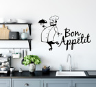 Wall Art Stickers Bon Appetit Chef Removable Home Decals, Kitchen Quotes D
