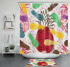 Watercolor Tropical Fruit Colorful Pineapple Shower Curtain Set Bathroom Decor