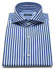 Finamore 1925 Shirt IN Midnight Blue Striped With Shark Collar Reg