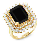 7.20 Ct Emerald Cut Black Onyx 18K Yellow Gold Plated Silver Ring