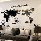 3d Map Of World Smooth Solid Crystal Acrylic Wall Sticker Home Office Decor