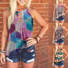 Summer Women Sleeveless Crew Neck T Shirt Floral Casual Tank Top Loose Blouse
