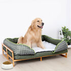 Extra Large Raised Dog Bed Basket Waterproof Pet Sofa Cushion Wooden Frame Stand