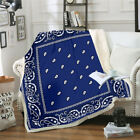 Bandana Pattern 3D Print Sherpa Blanket Sofa Couch Quilt Cover Throw