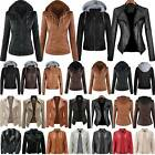 Womens Faux Leather Hooded Jacket Slim Fit Coat Biker Jackets Tops Outwear