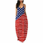 Women Maxi Dress Easter Independence Day American Flag Print Loose Long Sundress