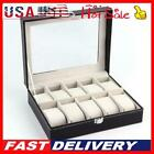 Stylish 6/10/12/20 compartment high-end leather watch collection storage box-US