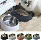 Cat Raised Bowl No-slip Stainless Steel Elevated Stand Tilted Feeder Bowl