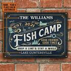 Fish Camp Drop A Line Personalized Metal Sign Best Item Decorate