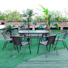 Glass Garden Furniture Set 2/4/6 Chairs Outdoor Dining Table Patio Parasol Hole