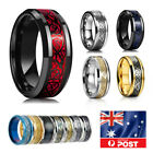 11 Colors Real Stainless Steel Man Silver Gold Black Celtic Dragon 8mm Band Ring