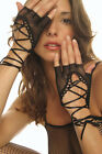 Lace Up Wrist Length Fishnet Fingerless Arm Warmer