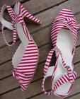 RED WHITE STRIPE 50s STYLE ANKLE STRAP PEEP TOE SANDALS