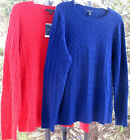 LE Stretch Cotton CrewNk Sweater 1X Red Blue Gold Missy