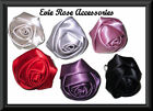 NEW BIG SATIN FABRIC ROSE FLOWER SILVER STATEMENT RING