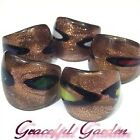 RG9678 Golden Spots Murano Style Lampwork Glass Ring