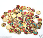20 Mixed Multicolor Wooden Charms/Earring Pendants 15mm / Printed Hearts/ Floral