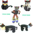 Pick ONE Halloween Black Cat Plush toy choose size and style #HK