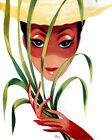 1600 Lady in a hat holds palm leaf quality POSTER.Wall Decorative Art.Wall decor