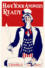 2974.Have your answers ready.Census Uncle Sam POSTER.Americana Decorative Art.