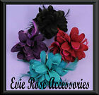 New Spiked Glitter Edged Petal Flower Corsage Feather Spray Fascinator Hair Clip