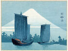 3054.Ships by mountain asian POSTER.Landscape Japan volcano Decorative Art.