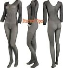 Bodystocking Seamless Crotchless Fishnet Weave Sexy Long Sleeves Black DTS00653