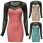 WOMENS LADIES SLEEVED MESH CRINKLE BODYCON STRETCH SWEETHEART DRESS SEXY PARTY