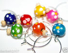 10 Lovely DOTTED Wooden Wine Glass Charms / Silver / Assorted Wood/ Choose Color