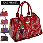 Women Ladies Diamante Heart Gem Top Handle Boutique Tote Skull Charm Bag Handbag