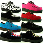 Womens Ladies Lace Up Chunky Sole Platform Flat Goth Punk Pumps Creepers Shoes