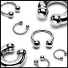 HORSESHOE RING STEEL SILVER EYEBROW NIPPLE LIP EAR TRAGUS PIERCING 12 10  8 6 MM