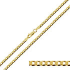 "9ct Gold Plated on Sterling Silver  16-30"" Inch 3.2mm Curb Link Chain Necklace"